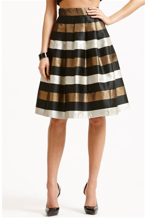 Aline Skirt striped black white and bronze a line skirt from