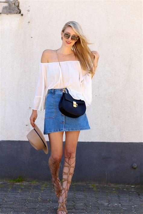 Doff Mini White the shoulder denim skirt