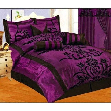 purple satin comforter 7 pc modern black purple flock satin from for my new