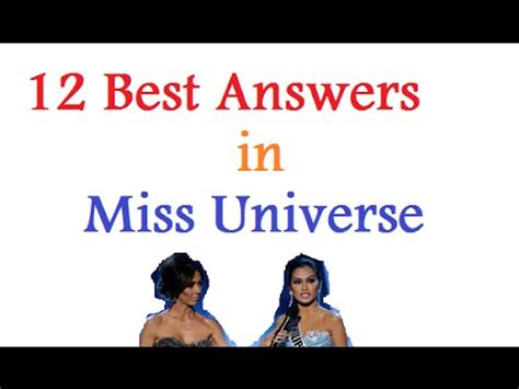 beauty with brains best answers at miss universe pageant 12 best answers in miss universe pageant youtube