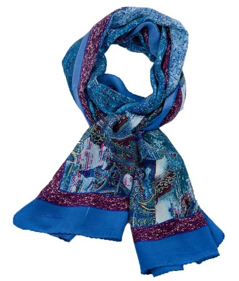 blue abstract paisley silk scarf