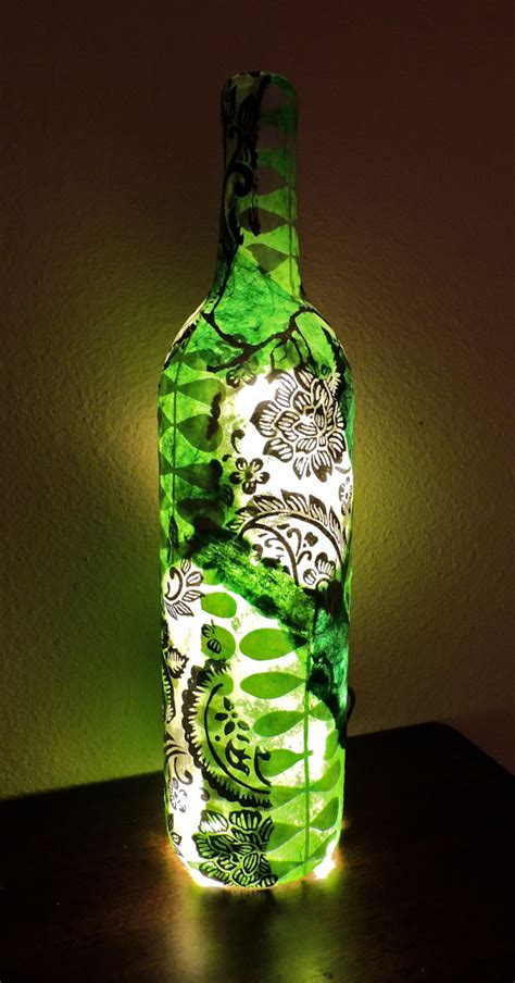 Decoupage Wine Bottles - custom wine bottle light wine bottle l decoupage wine