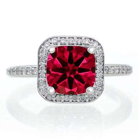 1 5 carat princess cut ruby classic halo engagement ring