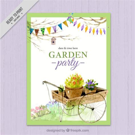 garden invitation template watercolor garden invitation design vector free