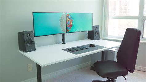 ultimate desk setup dual monitor wallpaper setup