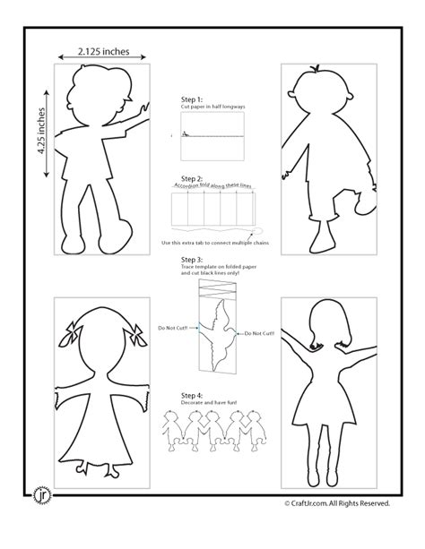 how to make a paper doll chain template paper chain woo jr activities
