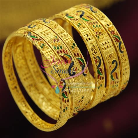 Bangles Designs Handmade - b2423 gold plated set bangles delicate intricate peacock