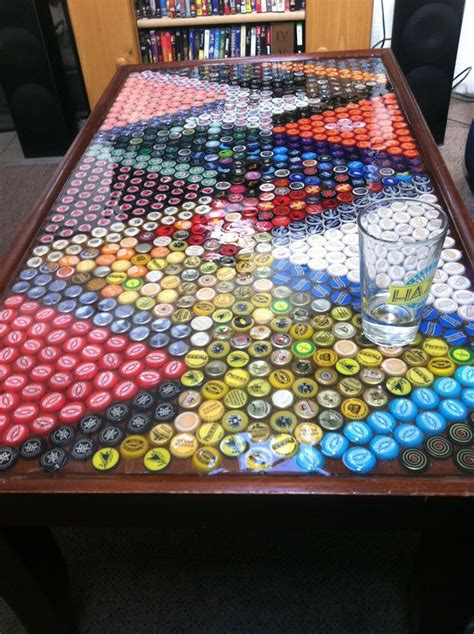 bar bottle tops cool idea for a bar table finally legal pinterest