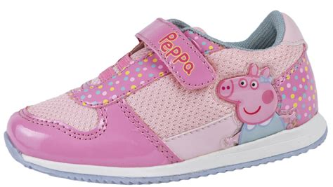 peppa pig pink glitter trainers adjustable straps