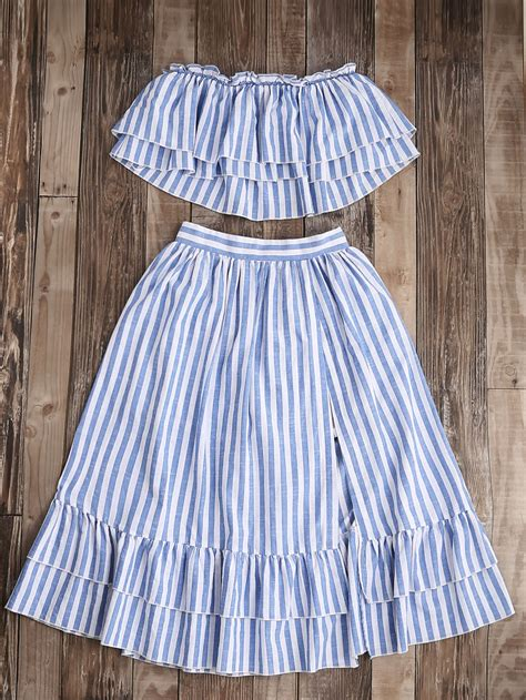 Set M Stripe Ruffle striped flyaway bandeau top and ruffle skort set shein sheinside