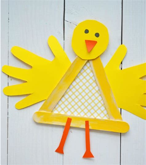 chicken crafts for popsicle stick baby chicken craft allfreekidscrafts