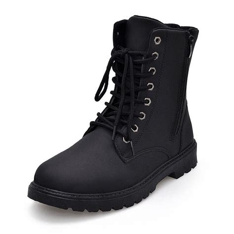 black lace up motorcycle boots men winter boots black waterproof motorcycle boots lace up