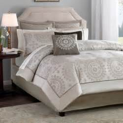 ivory taupe 12 pc bed bag cal king comforter set