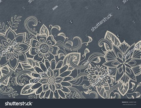 fashion elegant background with hand drawn flowers royalty hand drawn flower design sketch white stock illustration