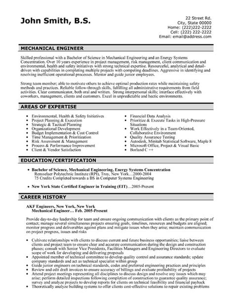 mechanical engineering resume templates internship sample entry