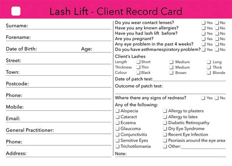 Eyelash Extensions Record Card Template by Lash Lift Client Card Treatment Consultation Card