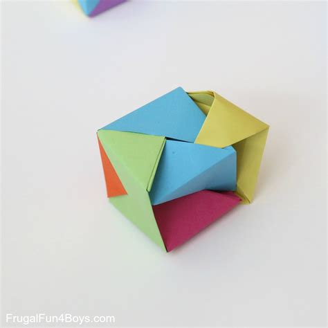 Paper Cubes - how to fold origami paper cubes frugal for boys and
