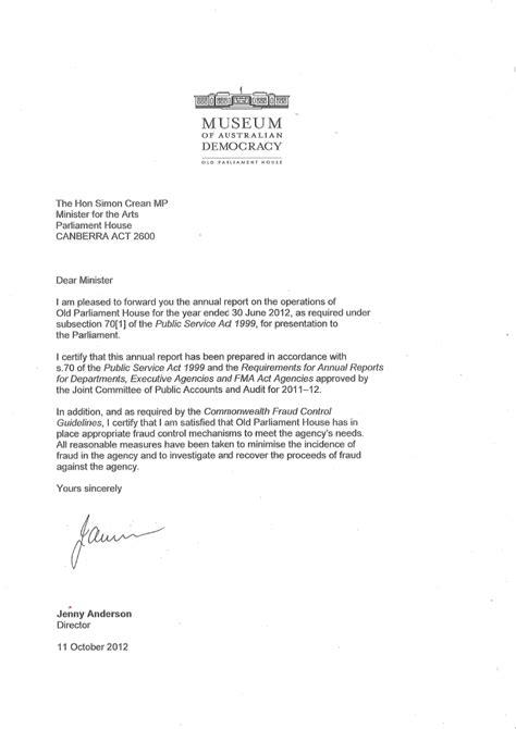 Transmittal Letter In A Report Letter Of Transmittal Parliament House Annual Report 2011 12