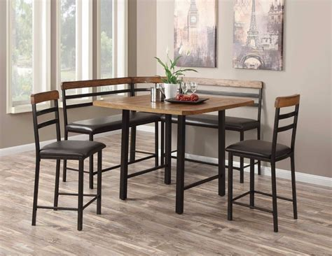 metal and wood dining room furniture metal wood counter height corner nook dining room table