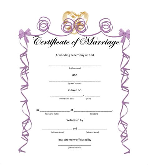 wedding certificate templates free printable wedding certificate template printable birthday certificates
