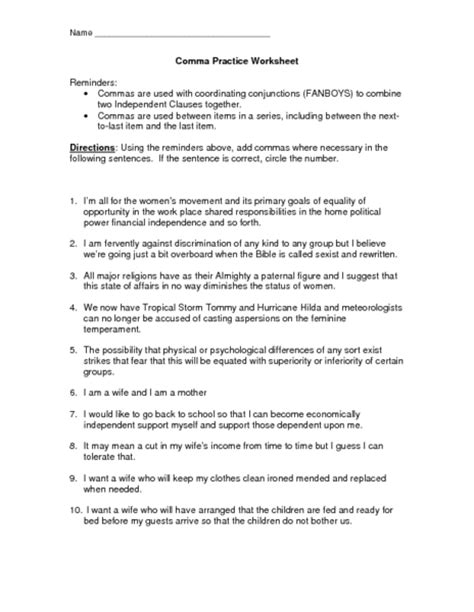 printable comma quiz printables comma usage worksheet happywheelsfreak