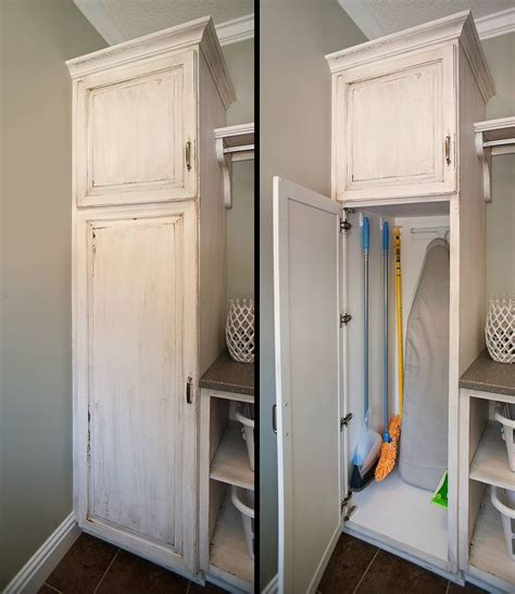 Laundry Room Storage Cabinets Broom And Mop Holders Are Great For Eliminating The Clutter From Closets By Providing Neat
