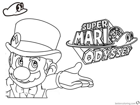coloring pages mario odyssey super mario odyssey coloring pages line art with logo