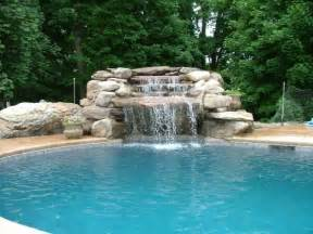 inground pool with waterfall swimming pool waterfall designs home decorating ideas