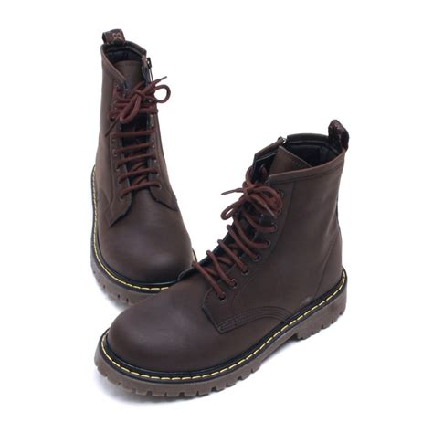 mens combat boots mens contrast stitch matt brown lace up side zip