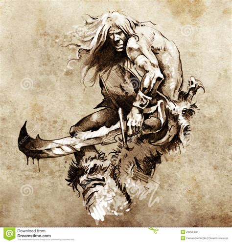 sketch of tattoo art warrior fighting stock illustration