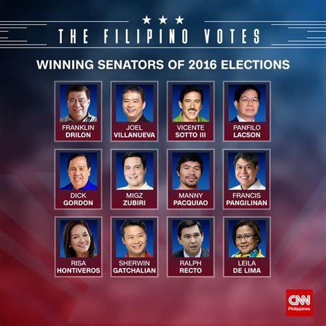 list of senatorial candidates for may 9 election comelec proclaims winning senators cnn philippines