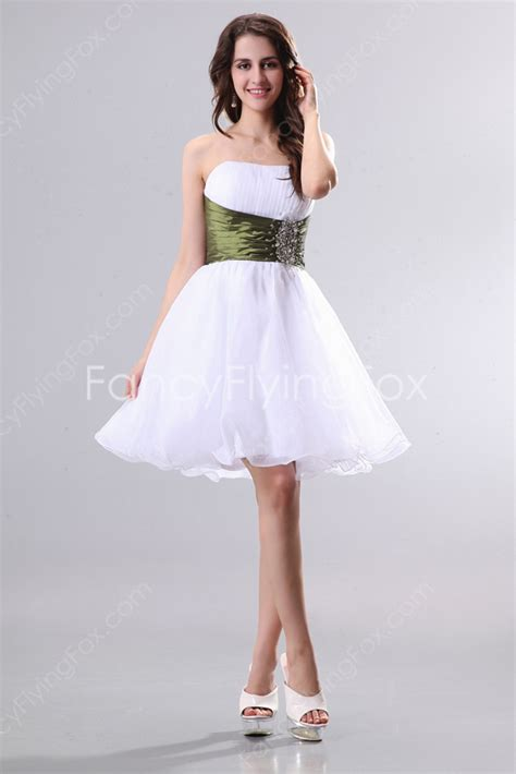 Lively Strapless Puffy Short Length 8th Grade Graduation Dresses With Green Belt at