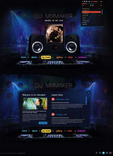 Dj Mix Html5 Template Best Website Templates Best Dj Website Templates
