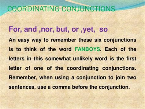 2 coordinating conjunctions