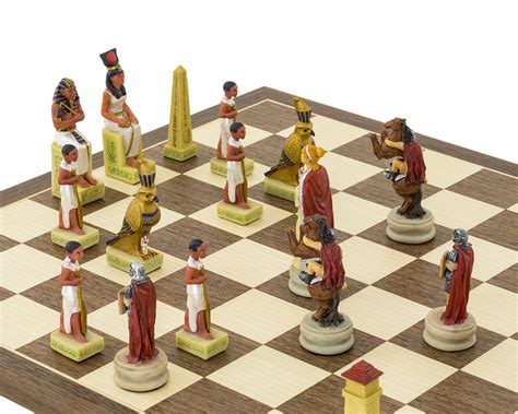 romans  egyptians hand painted themed chess set
