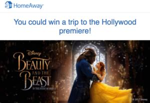 Homeaway Sweepstakes Beauty And The Beast - win a trip for 4 to the beauty and the beast us premiere in hollywood