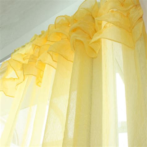 Yellow Ruffle Curtains Custom Made Ruffle Sheer Curtain Set Yellow Custom Made Gift