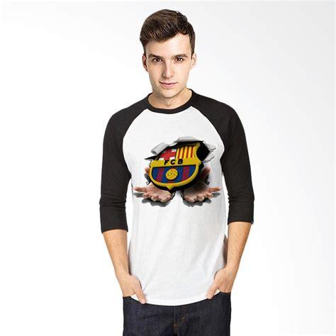 T Shirt Kaos 3d 3d Raglan Putih Hitam jual t shirt 3d barcelona kaos raglan pria putih hitam harga kualitas