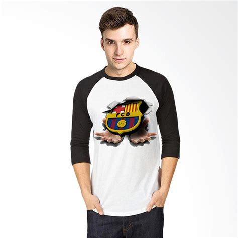 Tshirt Kaos Raglan Oneck Pria Cowok Putih Combed Murah jual t shirt 3d barcelona kaos raglan pria