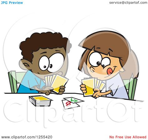 fish computer game cartoon clipart of a black boy and white girl playing a go fish