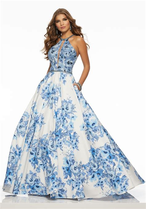 morilee  floral print prom gown french novelty