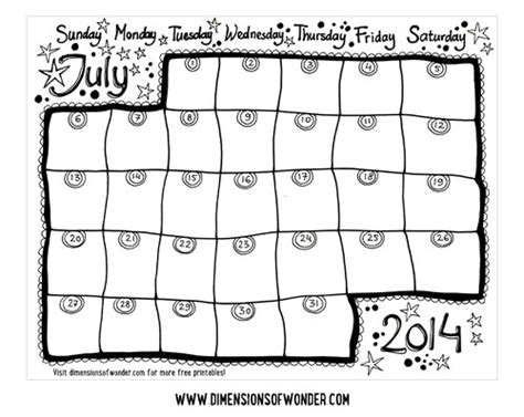 2014 printable monthly calendar cute free printable monthly calendar july 2014 hand drawn