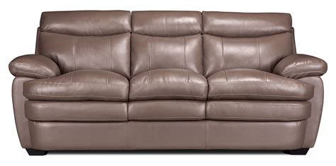 Taupe Leather Sofa Marty Genuine Leather Sofa Taupe The Brick