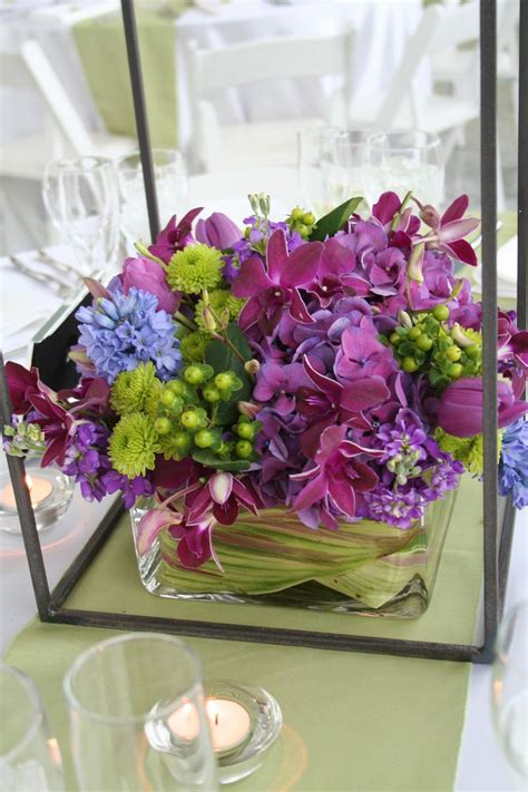 centerpieces ideas purple and green wedding centerpieces fresh and romantic