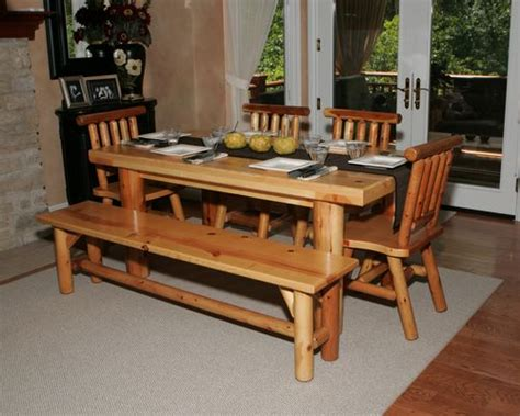 Kitchen Table With Bench Set Kitchen Table Set 1 Table 2 Chairs 2 Benches L 509
