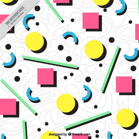 colored shapes eighties background of colored geometric shapes vector