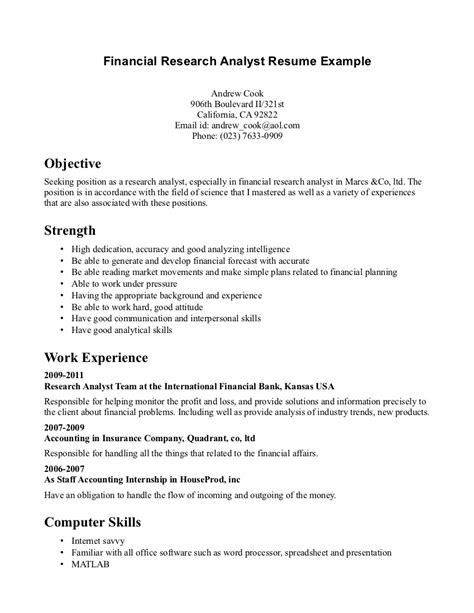 Analyst Resume Objective by Financial Analyst Resume Best Template Collection