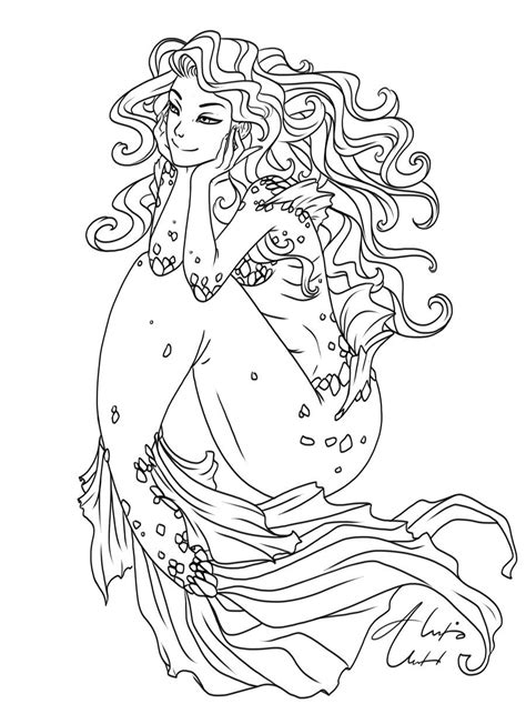 adult mermaid with long hair by lian2011 coloring pages wavy hair ol by alexisunderwood on deviantart coloring