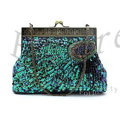 Handmade Clutch Purse Pattern - handmade peacock pattern beaded sequin clutch evening bag bkq