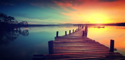 photo wooden jetty  sunset dreamy  rural